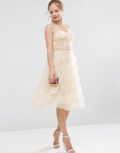 Read more about Asos salon 3d flower organza midi prom dress - cream