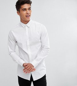 Read more about Only sons skinny smart longline shirt - white