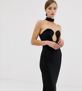 Read more about Asos design midi bandeau bodycon dress with chain back detail