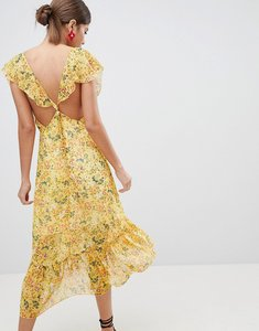 Read more about Prettylittlething floral tie back midi dress - mustard