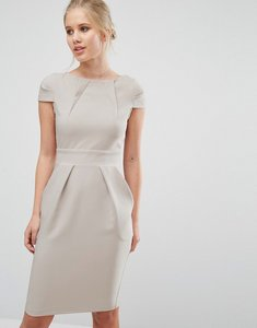 Read more about Closet cap sleeve midi pencil dress with tie back - grey