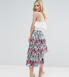 Read more about Asos petite pleated midi skirt with tiers in palm print - multi