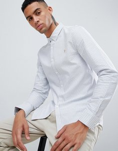 Read more about Farah brewer slim fit stripe oxford shirt in blue - blue