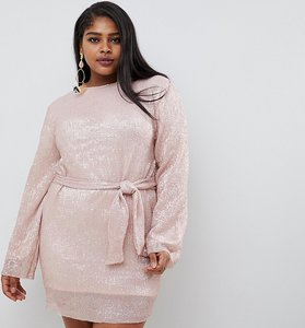 Read more about Club l plus allover sequin shift dress with belt detail in soft pink