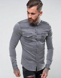 Read more about Asos skinny fit western denim shirt in grey - grey
