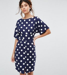 Read more about Closet london kimono sleeve midi dress with tie back detail and split front - navy polka