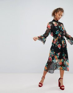 Read more about Miss selfridge high neck rose print midi dress - floral