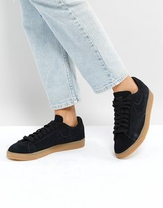 Read more about Nike blazer low trainers in black suede with gum sole - black