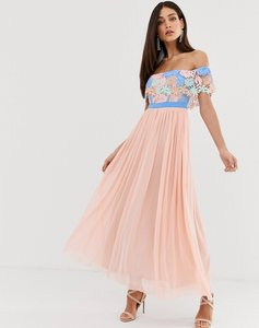 Read more about Forever u bardot maxi dress with lace trim