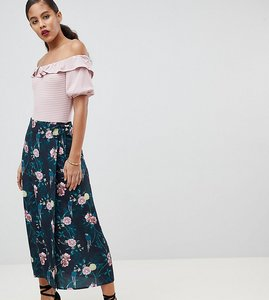 Read more about Fashion union tall midi wrap skirt in romantic floral - parrot
