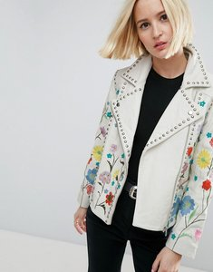 Read more about Asos floral embroidered leather biker jacket - white
