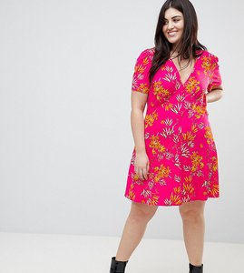 Read more about Asos curve mini tea dress with high neck in pink bamboo print - multi