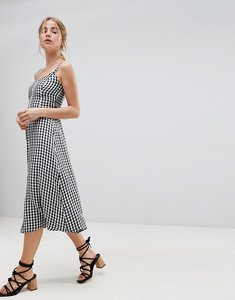 Read more about Hollister 90 s button thru gingham midi dress - gingham