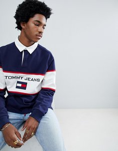 Read more about Tommy jeans 90s sailing capsule rugby polo chest flag logo in navy - peacoat