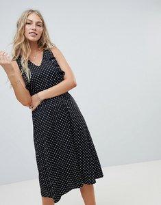 Read more about Vero moda polka dot midi dress with ruffle panel - polka white spot