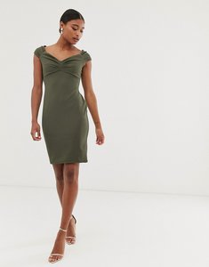 Read more about City goddess bodycon midi dress - khaki