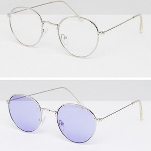 Read more about Asos 2 pack 90s round sunglasses with lilac lens clear lens - multi