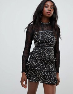 Read more about Glamorous daisy print skater dress with lace sleeves - black daisy ditsy