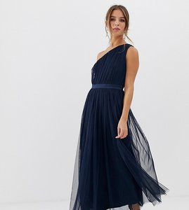 Read more about Anaya with love tulle one shoulder midaxi dress with satin trim in navy