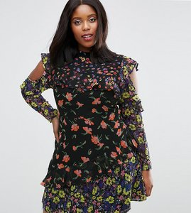 Read more about Asos curve mixed print mini dress with cold shoulder and frill - multi