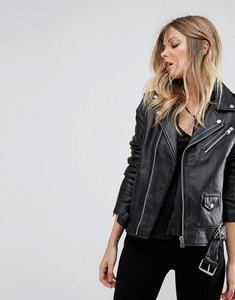 Read more about Mango zip detail leather jacket - black