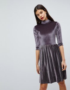 Read more about Club l pleated high neck velvet dress - lilac grey