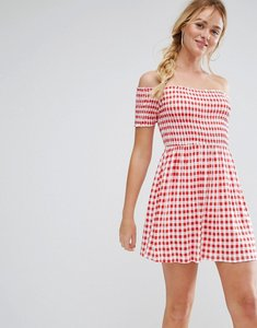 Read more about Asos off shoulder sundress with shirring in gingham - red gingham