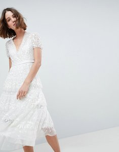 Read more about Needle thread layered midi dress with tie waist - ivory