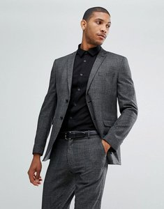 Read more about Selected homme slim prince of wales check suit jacket - medium grey