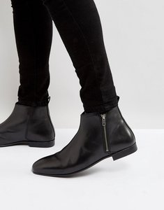 Read more about Frank wright side zip chelsea boots black leather - black