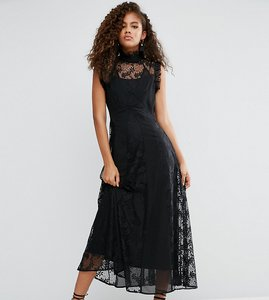 Read more about Asos tall lace insert high neck midi dress - black