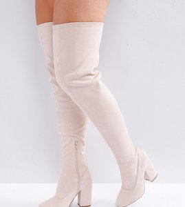 Read more about Asos katcher wide fit heeled over the knee boots - nude