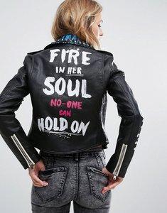 Read more about Bershka stud and graffiti biker jacket - black