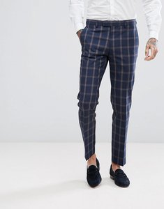 Read more about Harry brown slim fit blue check windowpane suit trousers - navy