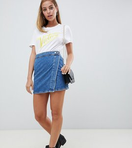Read more about Asos design petite denim wrap skirt in stonewash blue - blue