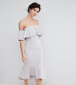 Read more about True decadence tall exagerated frill bandeau midi dress with peplum hem - grey