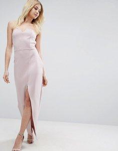Read more about Asos scuba bandeau asymmetric maxi dress - lilac