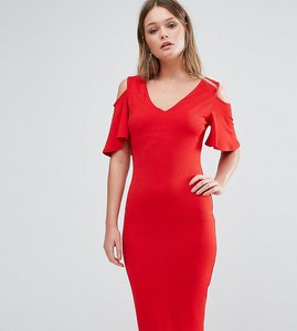 Read more about Club l midi dress with cold shoulder frill detail - red