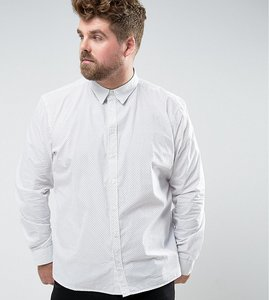 Read more about French connection plus shirt in slim fit with printed dot detail - white