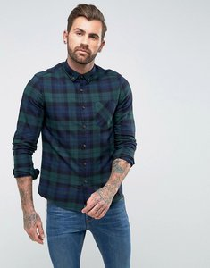 Read more about Asos design regular fit check shirt in green - green