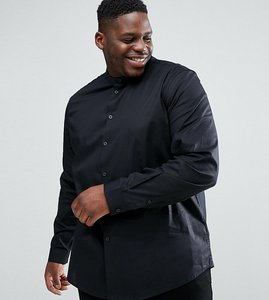 Read more about Asos plus stretch slim shirt in black with grandad collar - black