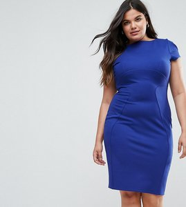 Read more about Closet london plus pencil dress with ruched cap sleeve - cobalt