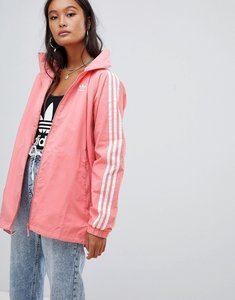 Read more about Adidas originals three stripe hooded jacket in pink - pink