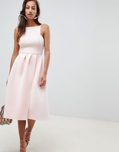 Read more about Asos design strappy open back prom midi dress - silver peony
