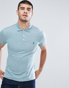 Read more about Polo ralph lauren stretch pique polo slim fit in green marl - biscay blue hthr