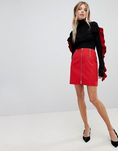 Read more about French connection stretch zip mini skirt - blazer red