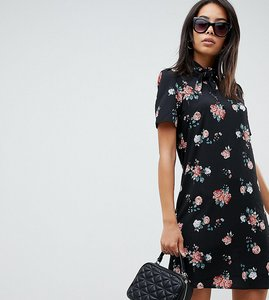 Read more about Fashion union tall high neck short sleeve dress in vintage floral - vintage floral