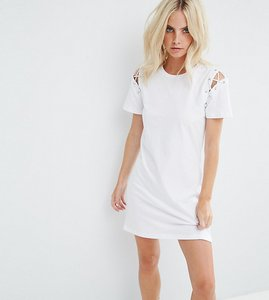 Read more about Glamorous petite t-shirt dress with lace up shoulder detail - white