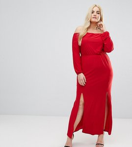 Read more about Club l plus bardot maxi dress with split - red