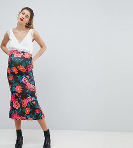 Read more about Asos maternity midaxi skirt with kickflare in rose floral print - multi